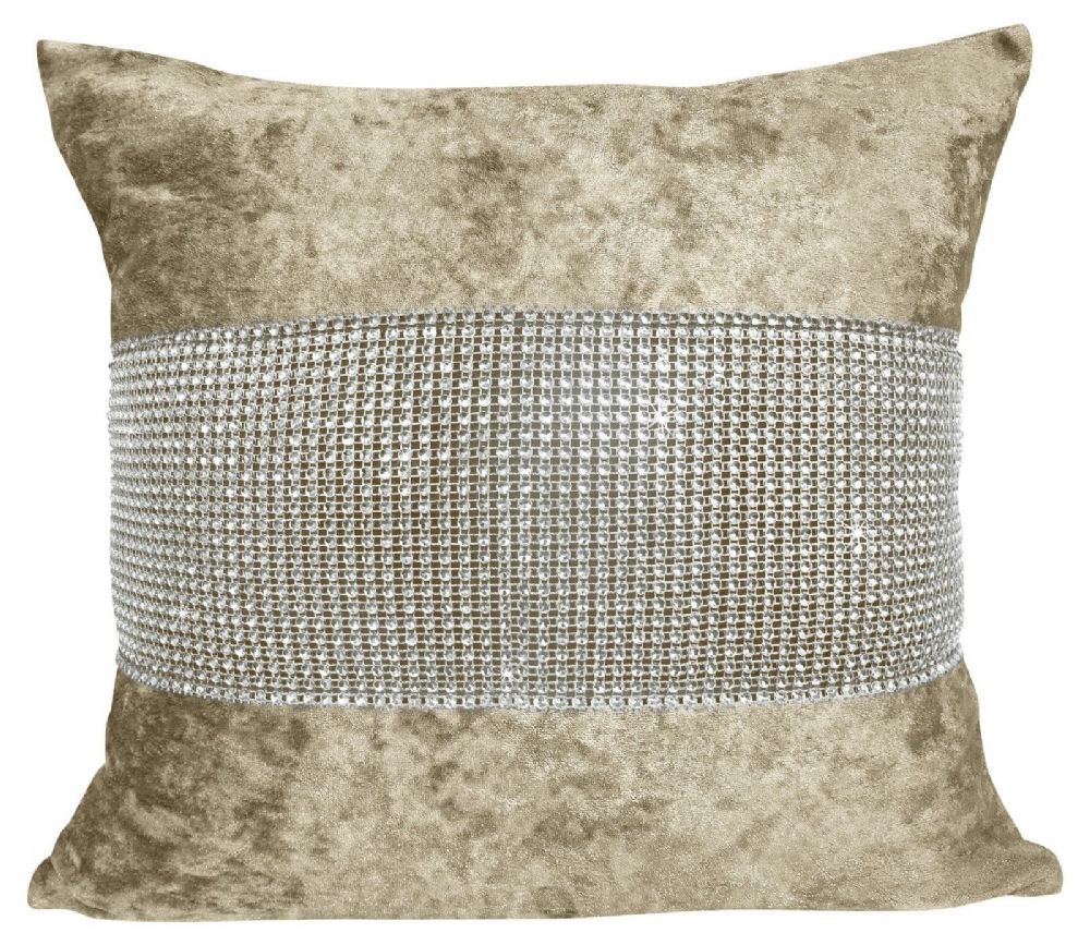 LUXURY CRUSHED VELVET DIAMANTE FILLED CUSHION NATURAL COLOUR